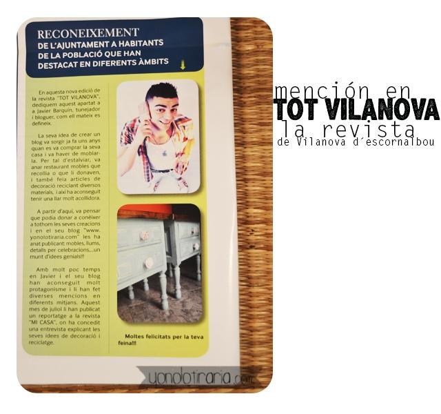 Mención en «Tot vilanova» la revista del pueblo donde vivo.